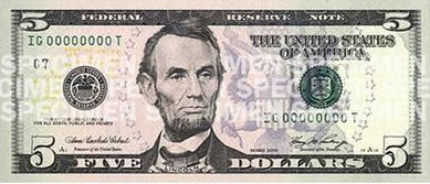 Abraham Lincoln On Money 5 Five Dollar Bill