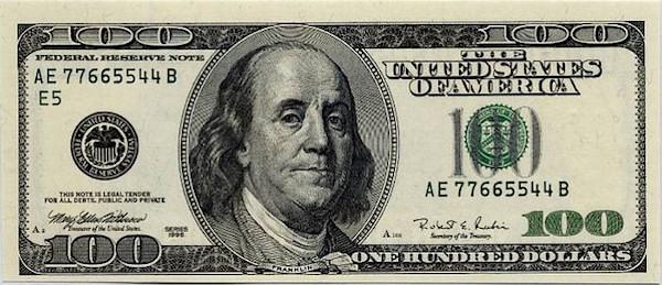 Benjamin Franklin On Money: $100 - One Hundred Dollar Bill