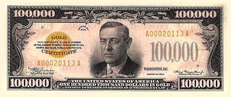 Woodrow wilson on money 100 000 one hundred thousand for 100000 dollar house