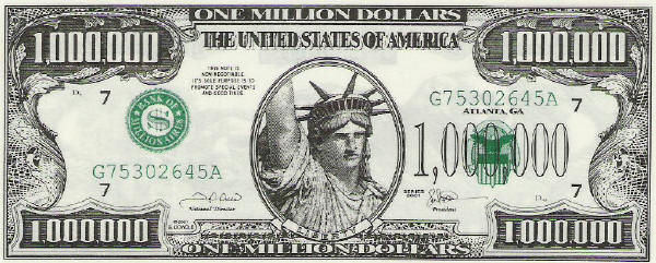 million dollar bill. $1000000 dollar bill