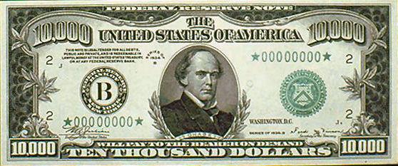 Salmon p chase on money 10 000 ten thousand dollar bill for 200 thousand dollar homes