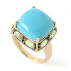 Carlo Viani gold cushion cut turquoise and peridot ring