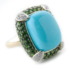 Carlo viani Gold cushion cut turquoise and tsavorite diamond ring