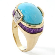 Carlo Viani gold turquoise and amethyst diamond ring
