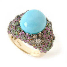 Carlo viani Gold Turquoise multi gemstone diamond flower ring
