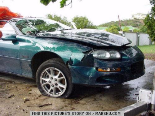 Chevy Camaro Z28 Car Accident Front End Crash