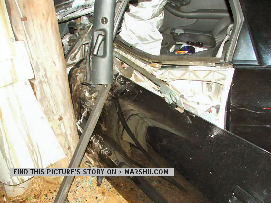 trans am car wreck: close up of the interior of the car