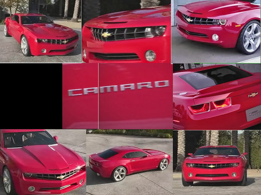 chevrolet camaro concept car red collage of all views