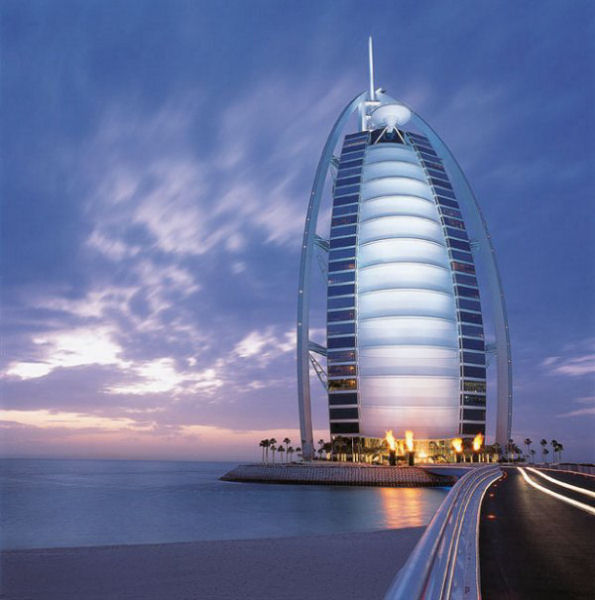 Burj Al Arab Hotel from road leading to entrace