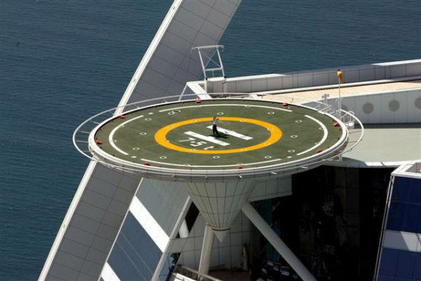 close up of tiger woods on burj al arab hotel helipad