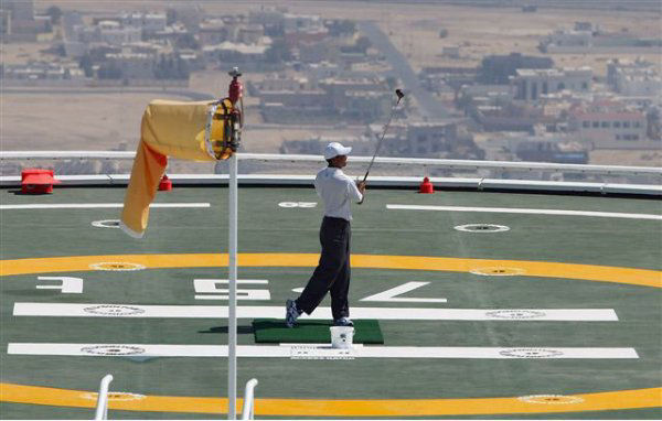 tiger woods at the Burj Al Arab Hotel