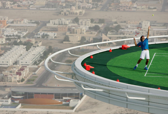Andre Agassi And Roger Federer Playing Tennis On Helipad Of Burj ...
