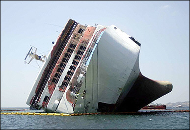 overturned ship accident
