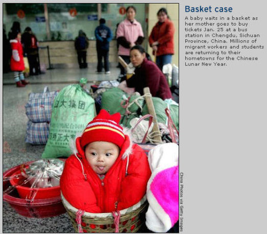 January 28, 2005 - baby in a basket, China